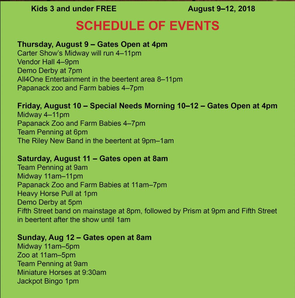 Arnprior Fair Schedule of events 2018 crop